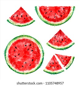 Set of whole, half and slices of watermelon in a cut on a white background. Summer design. Vector watercolor. Top view