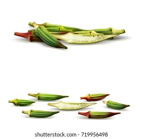 A set of whole okra's and a half slice in a realistic depiction