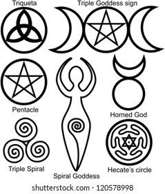 Set of the Wiccan symbols: Triquetra, or Celtic Knot, symbol of Triple Goddess, Pentacle, Spiral Goddess, Horned God, Triple Spiral of Goddess and Hecates circle