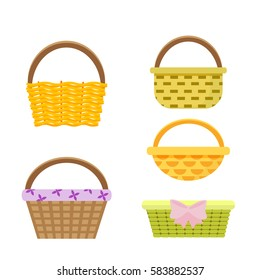 Set of wicker baskets. Vector, illustration in flat style isolated on white background EPS10.