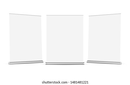 Set of wide roll up banners mockups isolated on white background. Vector illustration