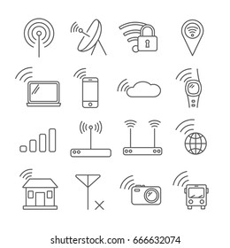 Set of wi-fi Related Vector Line Icons. Contains such icon as wi-fi, network, signal, router, connection, Wi Fi coverage