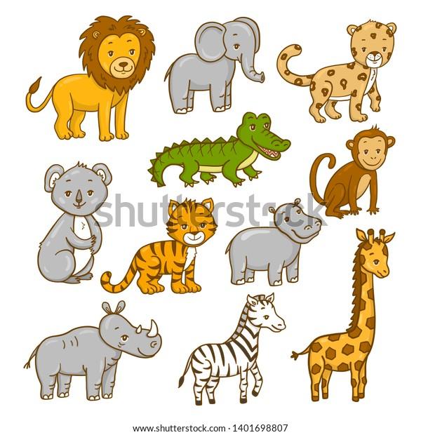 Set Wild Africa Animals Vector Illustration Stock Vector (Royalty ...