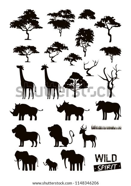 Set Wild African Animals Stock Vector (Royalty Free) 1148346206