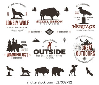 Set of wild animal badges and great outdoors activity emblems. Retro letterpress effect. Stock vector logos in typography style. Custom explorer quotes