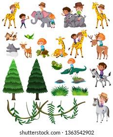 Set of wild animal and children illustration