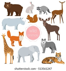 Set of wild animals giraffe, elephant, rhino, tiger, cute zebra, fox, rabbit, squirrel, moose, wolf, bear, gerenuk, antelope, raccoon isolated on white background. Vector illustration