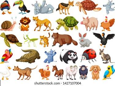 Set of wild animals illustration