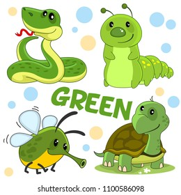 A set of wild animals, insects and reptiles of green color for children and design. The image of a character, snakes, caterpillars, flies and turtles.