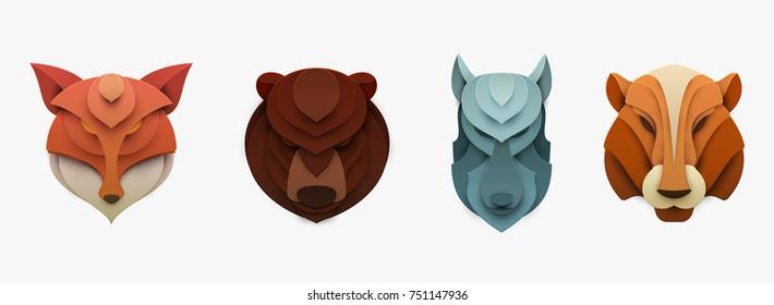 Набор диких животных в модном графическом стиле вырезать бумаги. Фокс, медведь, тигр, волк. Современный дизайн для рекламы, брендинга поздравительной открытки, обложки, плаката, баннера. Векторная иллюстрация.