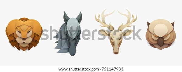 Set of wild animals in trendy paper cut craft graphic style. Lion, horse, deer, owl. Modern design for advertising, branding greeting card, cover, poster, banner. Vector illustration.