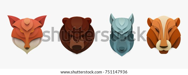 Set of wild animals in trendy paper cut craft graphic style. Fox, bear, tiger, wolf. Modern design for advertising, branding greeting card, cover, poster, banner. Vector illustration.