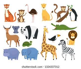 set wild animals in the zoo safari reserve