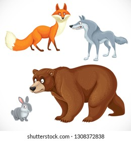 Set of wild cartoon animals bear, fox, wolf, hare isolated on white background
