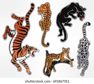 Set of wild Cat designs. Classic flash tattoo style patches or elements. Traditional stickers, comic pins. Pop art items. Vector collection, stickers kit. Tiger, Panther, Snow Leopard, Cheetah, Puma.