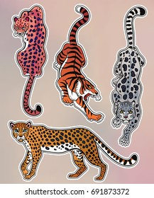 Set of wild Cat designs. Classic flash tattoo style patches or elements. Traditional stickers, comic pins. Pop art items. Vector collection, stikers kit. Tiger, Panther, Snow Leopard, Cheetah.