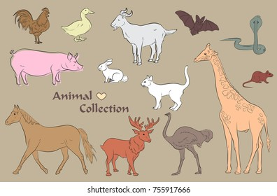 Set of Wild and Farm Animals Vector