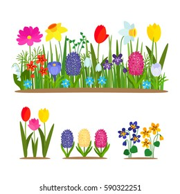 Set of wild forest and garden flowers. Spring concept. Flat vector illustration isolate on a white background