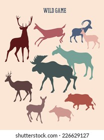 Set of wild game silhouettes made in vector in retro style.