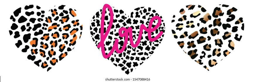 set of wild hearts leopard. Fashion Vector illustration heart shape. leopard Gold print texture pattern. pink Lettering love with black exotic panther animal skin texture. Modern Lion safari design