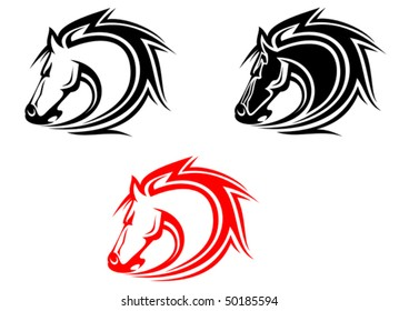Set of wild mustang horses tattoos isolated on white or logo template