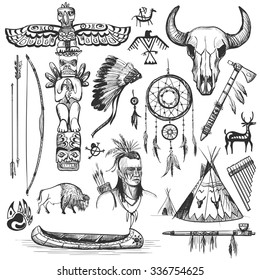 Set of wild west american indian designed elements.: bear, arrows, fox, wigwam, rabbit, owl, feathers, beads, onions, fire, tomahawk, torch . The concept for the design.