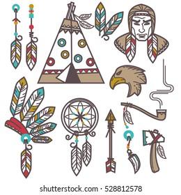 Set of wild west american indian designed elements. Vector Illustration.