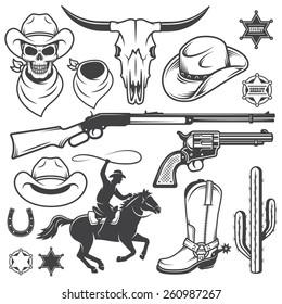 Set of wild west cowboy designed elements. Monochrome style