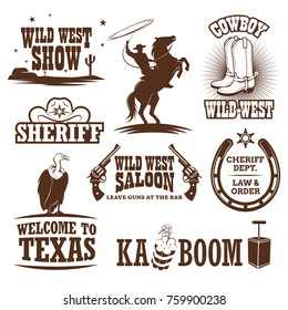 Set of wild west decorative elements