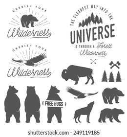 Set of wilderness quotes, emblems, silhouettes and design elements