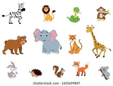 Set of wildlife animals. zebra, lion, snake, monkey, bear, elephant, tiger, giraffe, rabbit, hedgehog, squirrel, fox, koala.eps