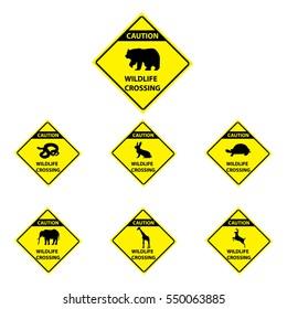 Set of wildlife crossing signs