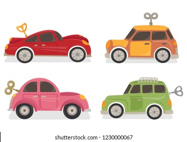 Set of wind up car toys vector illustration. Toy cars vector cartoon. Cars with winding key.