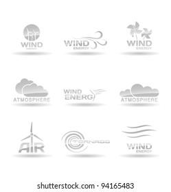 Set of wind energy icons.