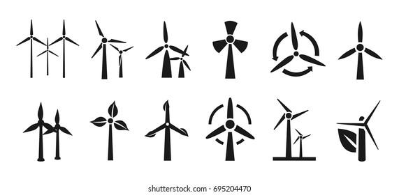 Set of wind turbine – vector