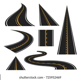 Set of winding and perspective view roads and highways. Isolated vector design elements.