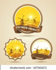 Set of windmills labels. Vector illustration