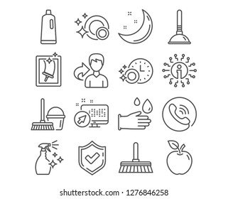 Set of Window cleaning, Washing cleanser and Shampoo icons. Dishwasher timer, Rubber gloves and Plunger signs. Cleaning mop, Clean dishes and Bucket with mop symbols. Vector