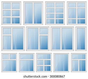 Set of windows with different design of frames. Shiny new windows with white frames. Vector image can be used for web, building booklet and posters, logo design and other interior printed products.