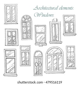 Set from windows of a different form. The architectural elements drawn by hand with ink.Vector illustration.