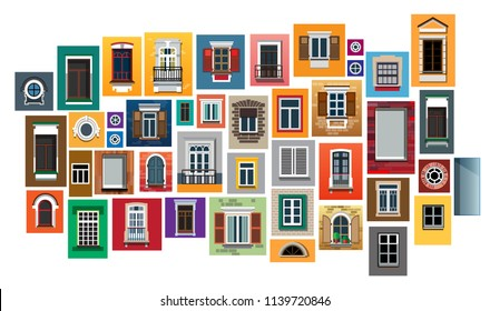 Set of windows in a flat style. Set of isolated on white background windows. Set of windows in various designs. Set of colorful front windows for homes and buildings. Vector illustration Eps10 file