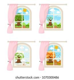 Set windows with seasonal weather illustration vector