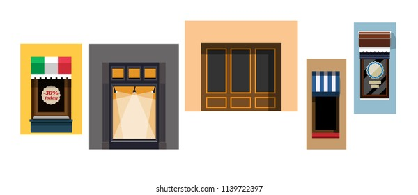Set of windows of showcases in a flat style. Set of isolated shop windows on white background. Set of shop windows in various designs. Vector illustration Eps10 file