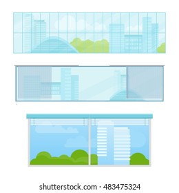 Set of windows vector illustrations in flat style. Different types and forms of house windows. City view from panoramic window in office or apartment. Isolated on white background.