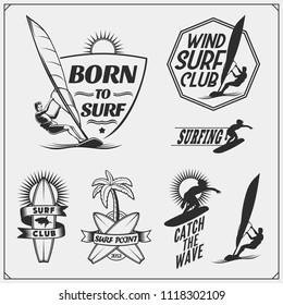 Set of windsurfing emblems, labels and badges. Surf design elements.