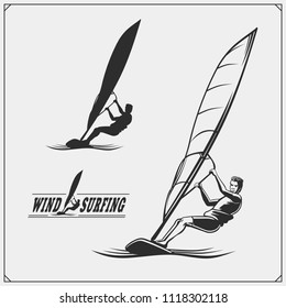 Set of windsurfing emblems, labels and badges. Surf design elements.