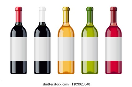 Set of wine bottles with different beverage sort. Bottle of muscat, pinot, aligote, cabernet, chardonnay, sauvignon, chateau. Alcohol drink collection. Sommelier bar. EPS10 vector illustration.