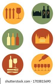 set of wine business icons for wine tasting, blind tasting, transport, chateau provenance, wine blend and color, food pairing, professional tasting - flat basic vector illustration