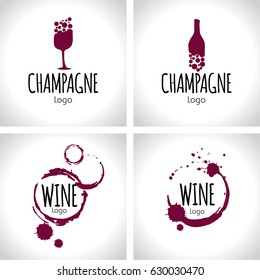 Set of wine and champagne logo design templates. Elegant wine badges and labels.