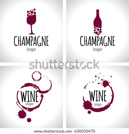 set wine champagne logo design templates stock vector royalty free